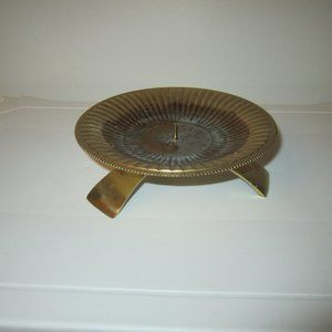 Vintage Brass Round Candle Holder